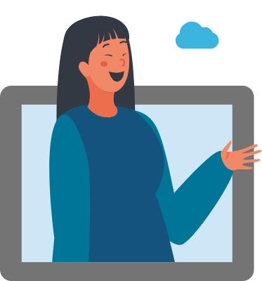 An illustration of a person talking about cloud technologies